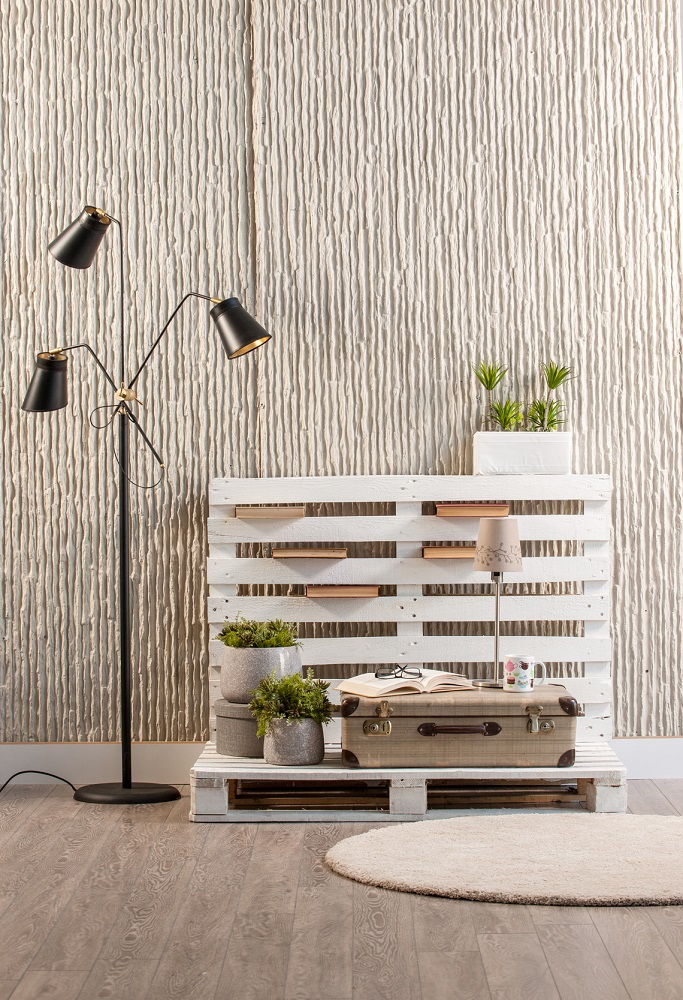 concrete wall interior handmade trendy decor with modern black lamp and round rug
